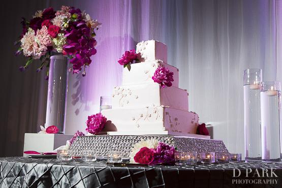 11 White Pink Fuschia Wedding Cake