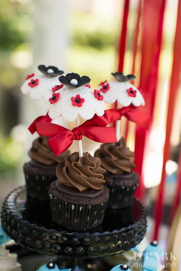 4 Red White Black Brown Parasol Baby Shower Wedding Chocolate Cupcakes