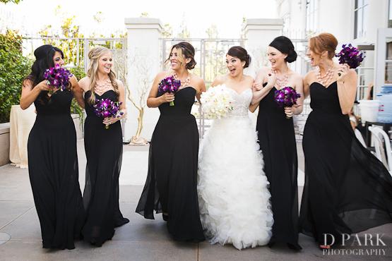 5 black bridesmaids purple bouquet summer wedding