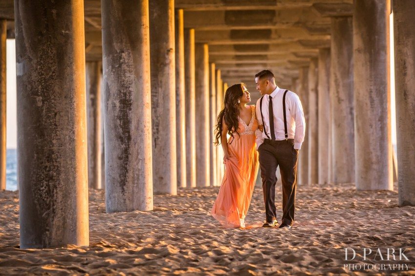 Huntington Beach Pearl Harbor Inspired Engagement | Caroline + Brian