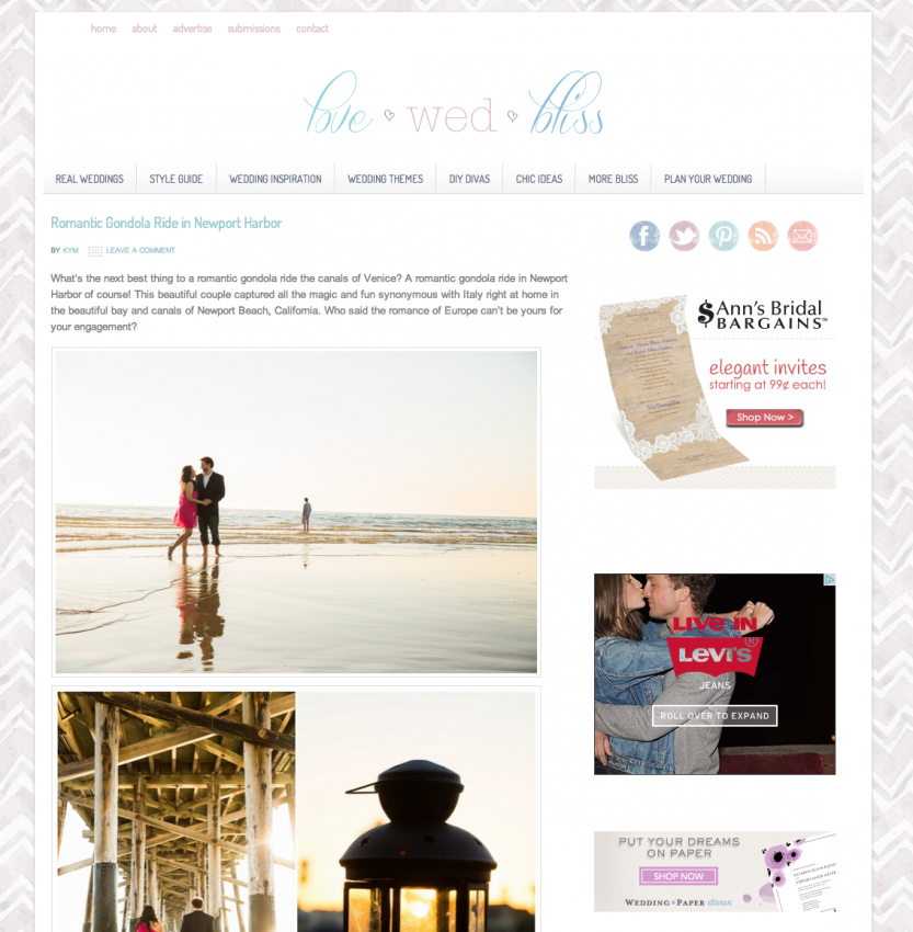 Gondola Newport Beach Engagement Published in Love Wed Bliss
