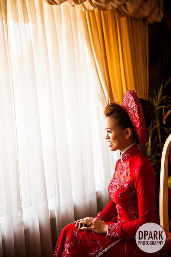 red vietnamese ao dai