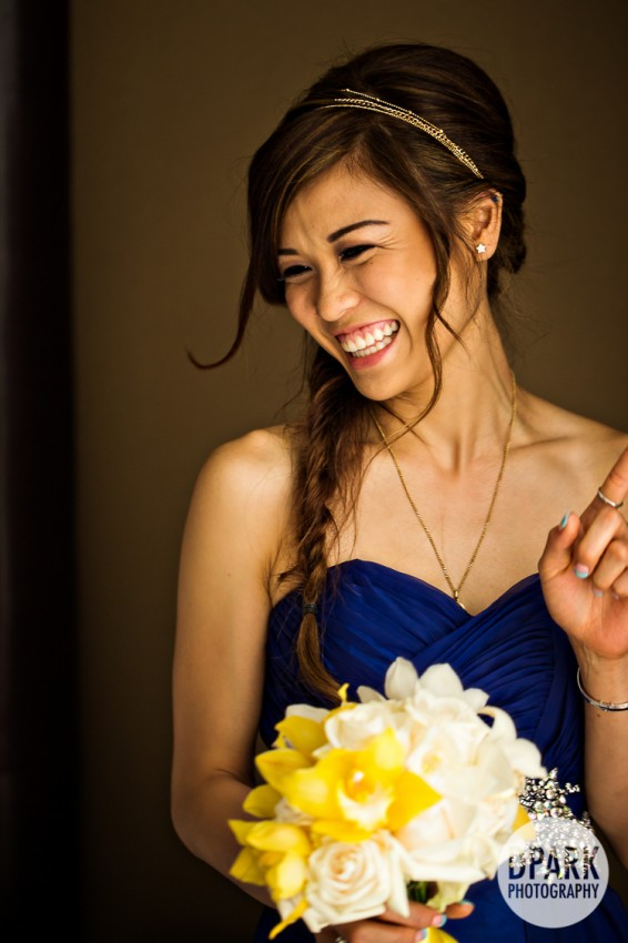 blue bridesmaid gowns and yellow