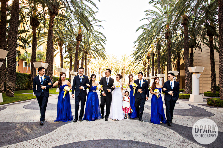 blue yellow bridal party