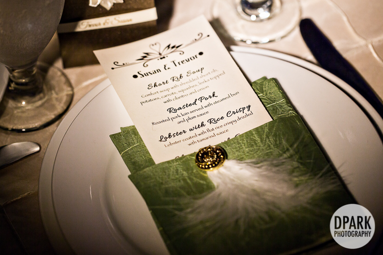 green brown ivory feather reception menus