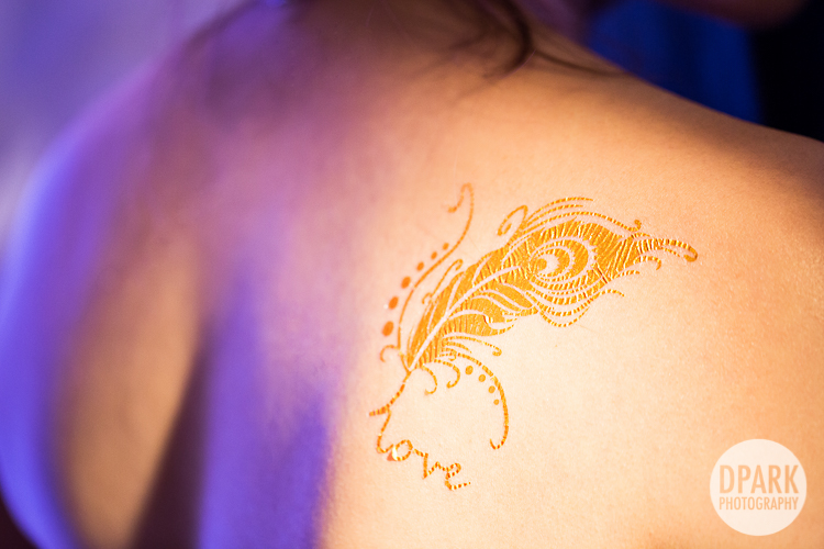 feather love bride tattoo gold
