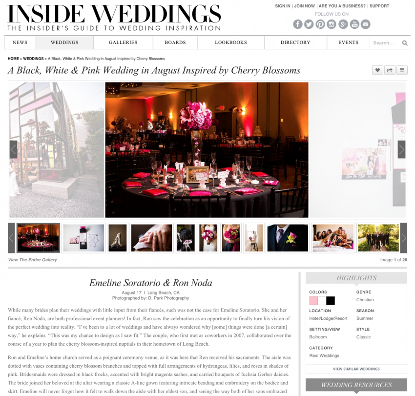 cherry blossom published long beach wedding