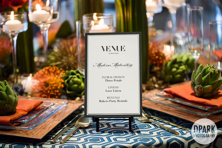 modern wedding reception details