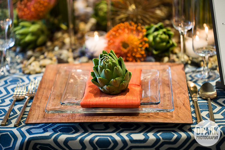 modern wedding reception succulents