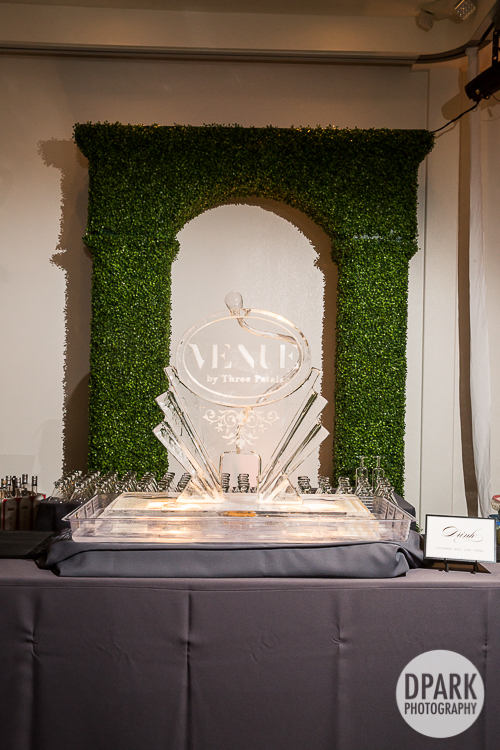 modern chic wedding drinks ice sculpture