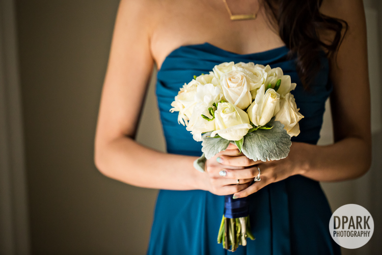 white-bridesmaid-bouquet-blue-wedding