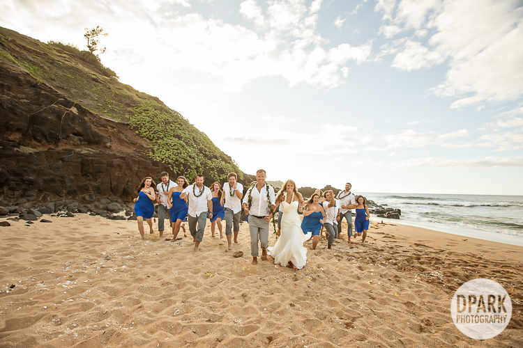 hawaiian-blue-yellow-bridal-party-color-theme