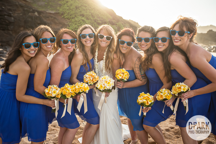 hawaiian-blue-yellow-bridesmaids-outfits-theme-sunglasses