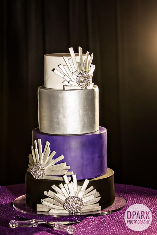 silver-purple-white-wedding-cake-art-deco