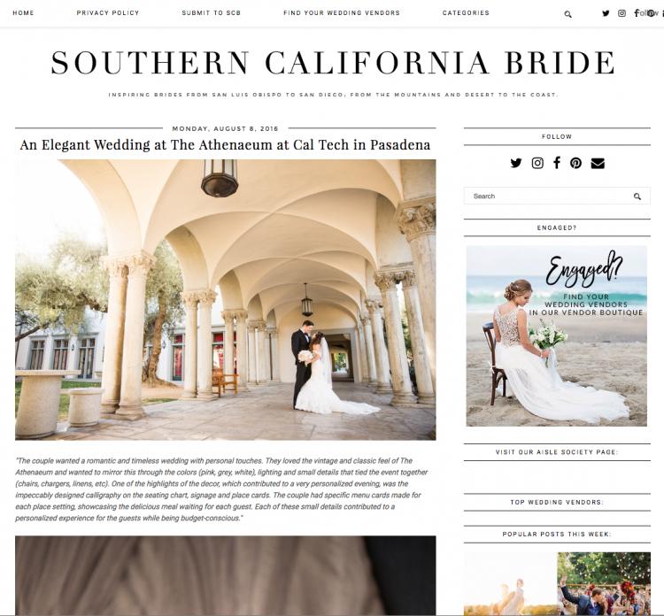 Athenaeum Wedding Published on Southern California Bride
