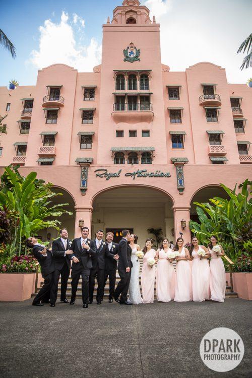 royal-hawaiian-wedding-pink-bridal-party