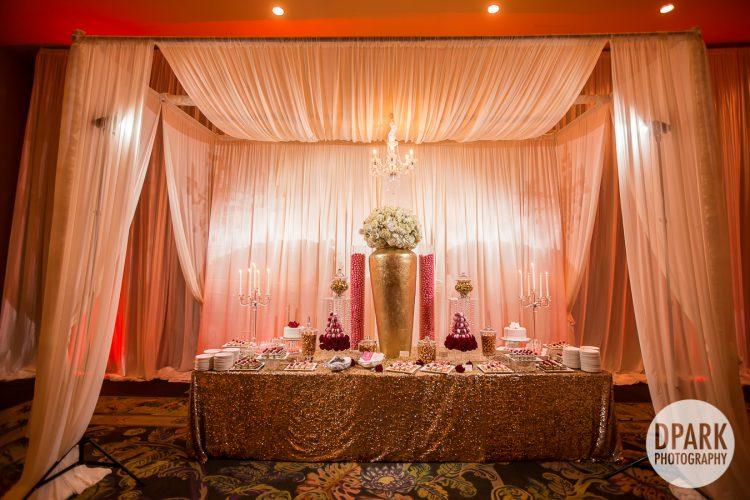 best-creative-glam-gold-ivory-champagne-wedding-dessert bar