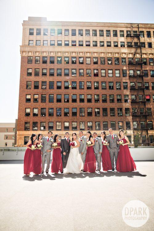 la-rooftop-wedding-bridal-party-red