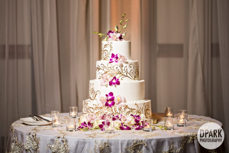 pakistani-indian-wedding-reception-decor-white-gold-cake