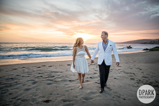 The amazing Montage Laguna Beach scenery made for the perfect frame for Michelle in her white gown from Bloomingdale's, and Dustin on their engagement day