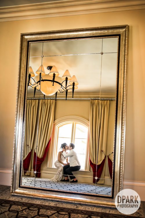 wedding, photography, bride, groom, ideas, inspiration, mirror, Mission Basilica San Juan Capistrano