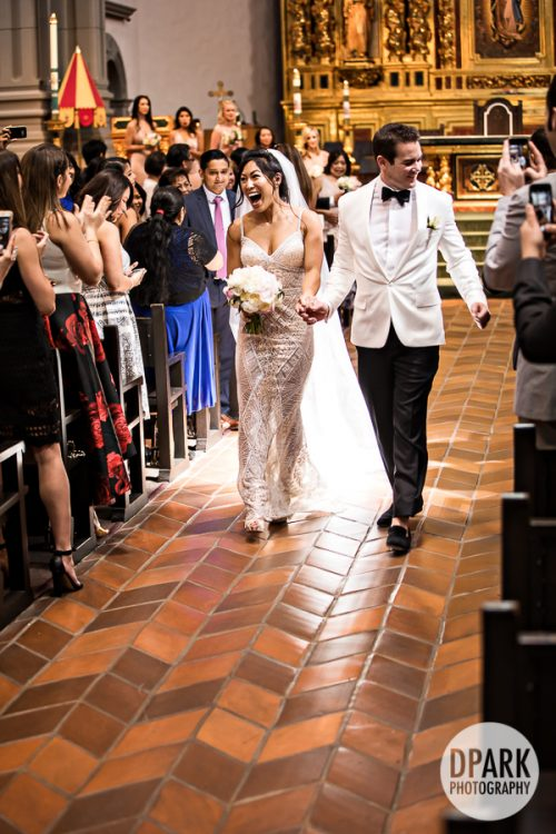 husband, wife, just married, bride, groom, wedding, ceremony, Mission Basilica San Juan Capistrano