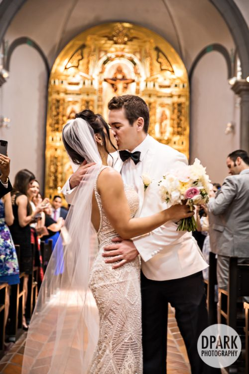 first, kiss, husband, wife, just married, bride, groom, wedding, ceremony, Mission Basilica San Juan Capistrano