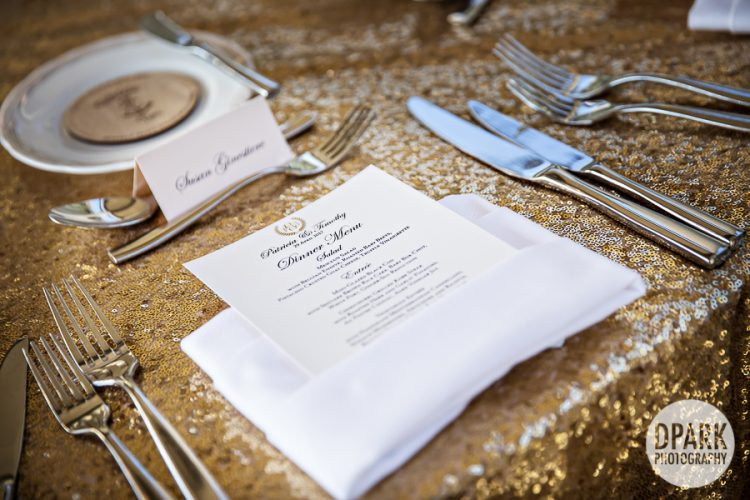 Monarch Beach Resort Club, reception, venue, monarch, beach, resort, details, wedding, tables cape, table, setting, inspiration, ideas, floral, bouquet, centerpiece, gold, blush, ivory, neutral, champagne, flatware, menu, napkin