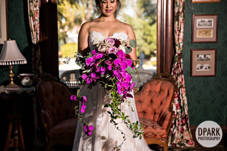 purple-fuschia-magenta-cascading-bridal-bouquet