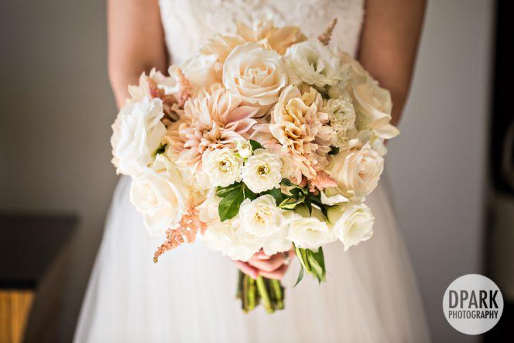 pink white korean bridal bouquet