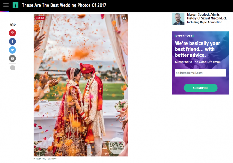 Best Wedding Photo of 2017 by Huffington Post
