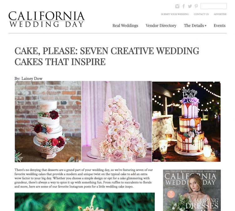 Inspiring Cakes Published by California Wedding Day