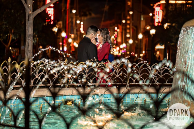 water-fountain-carthay-circle-engagement-photographer