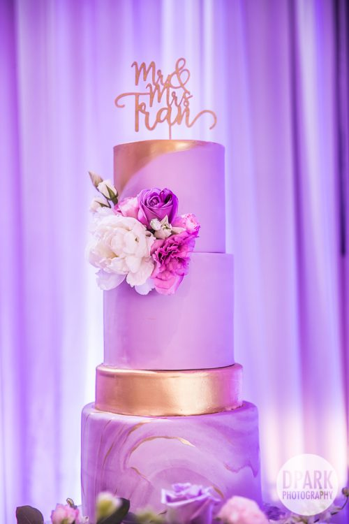 hyatt-huntington-beach-wedding-reception-purple-cake